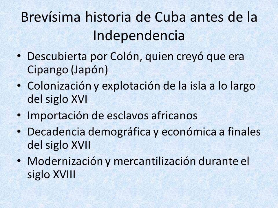 Cuba hacia la independencia Primer intento en 1812 liderado por el esclavo Antonio Aponte Aproximación a EE.UU.