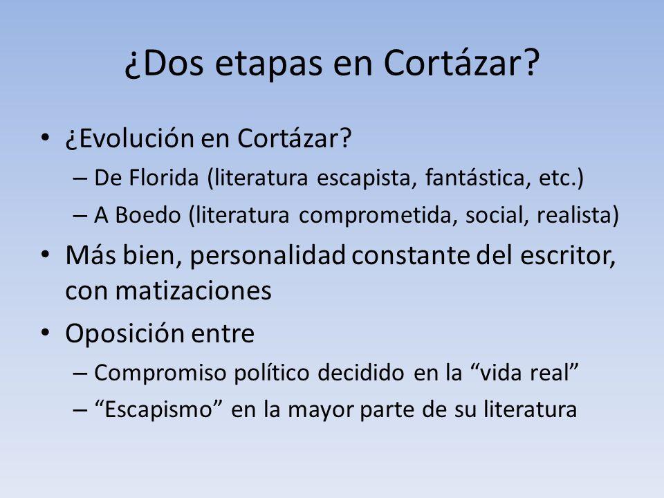 ¿Dos etapas en Cortázar? ¿Evolución en Cortázar? – De Florida (literatura escapista, fantástica, etc.) – A Boedo (literatura comprometida, social, rea