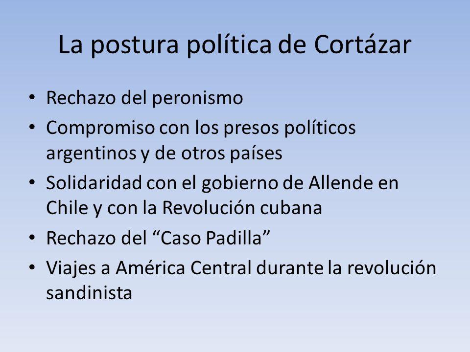 La postura política de Cortázar Rechazo del peronismo Compromiso con los presos políticos argentinos y de otros países Solidaridad con el gobierno de