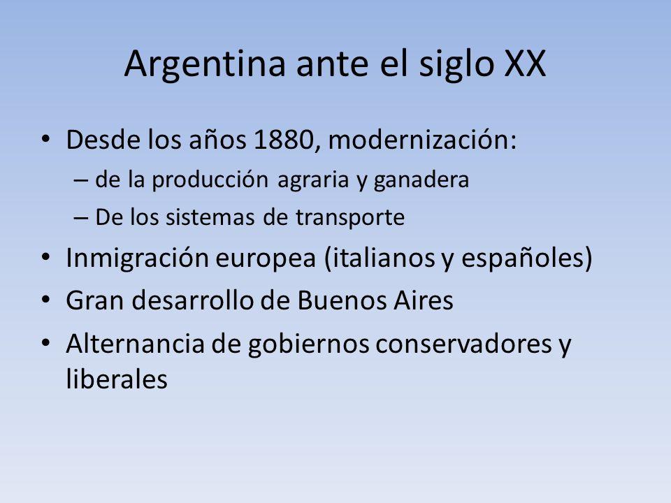 Argentina ante el siglo XX Desde los años 1880, modernización: – de la producción agraria y ganadera – De los sistemas de transporte Inmigración europ