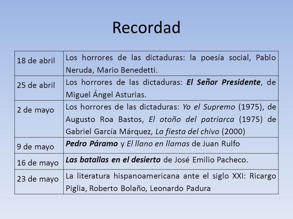 Recordad 18 de abril Los horrores de las dictaduras: la poesía social, Pablo Neruda, Mario Benedetti. 25 de abril Los horrores de las dictaduras: El S