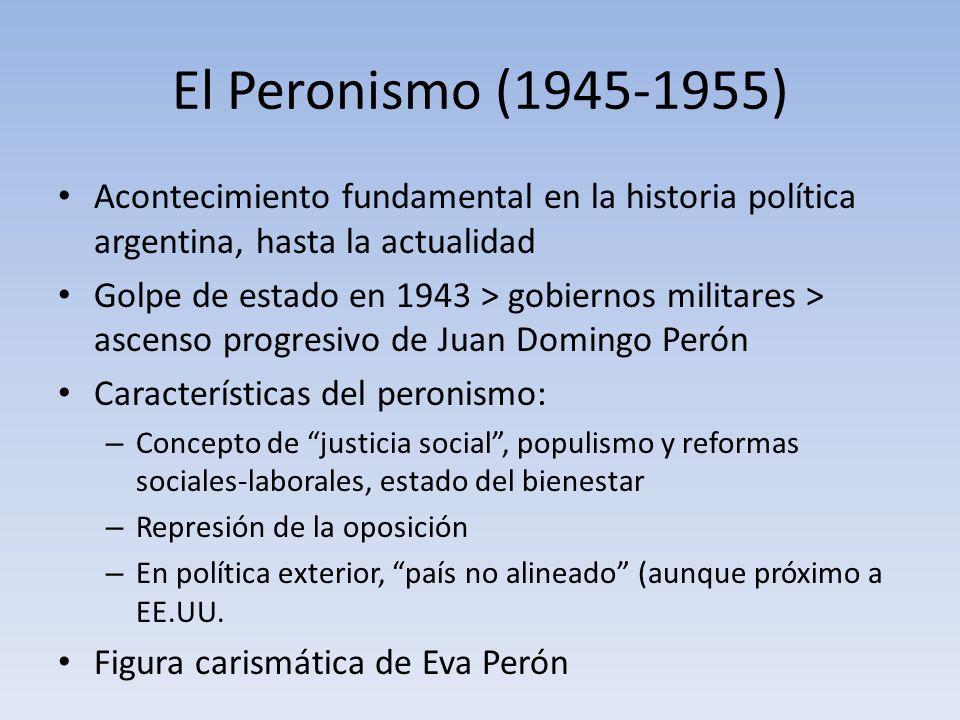 El Peronismo (1945-1955) Acontecimiento fundamental en la historia política argentina, hasta la actualidad Golpe de estado en 1943 > gobiernos militar