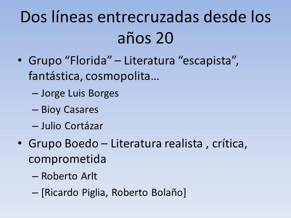 Dos líneas entrecruzadas desde los años 20 Grupo Florida – Literatura escapista, fantástica, cosmopolita… – Jorge Luis Borges – Bioy Casares – Julio C