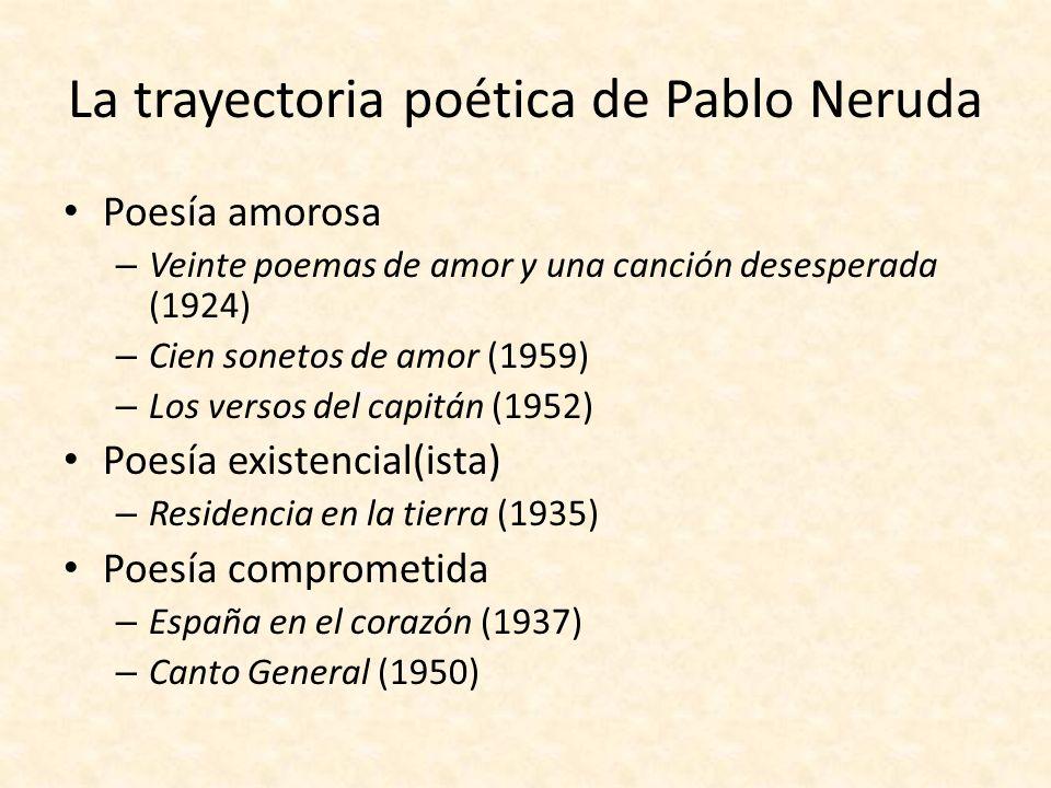 La trayectoria poética de Pablo Neruda Poesía amorosa – Veinte poemas de amor y una canción desesperada (1924) – Cien sonetos de amor (1959) – Los ver