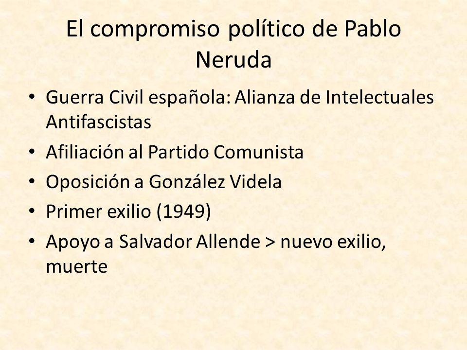 El compromiso político de Pablo Neruda Guerra Civil española: Alianza de Intelectuales Antifascistas Afiliación al Partido Comunista Oposición a Gonzá