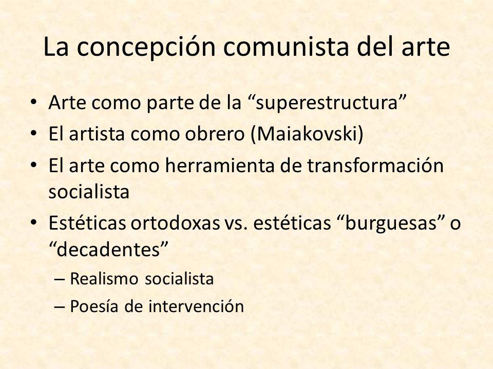 La concepción comunista del arte Arte como parte de la superestructura El artista como obrero (Maiakovski) El arte como herramienta de transformación