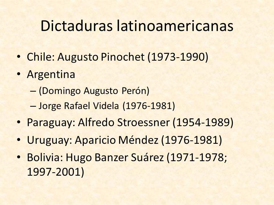 Dictaduras latinoamericanas México: Porfirio Díaz (1884 - 1911) Nicaragua: Anastasio Somoza (1967-1972, 1974 -1979) Panamá: Manuel Noriega (1983 - 1989) Guatemala: Efraín Ríos Montt (1982-3) República Dominicana: Leónidas Trujillo (1930-1961) Haití: François Duvalier (1957-1971) Cuba: – Fulgencio Batista (-1959) – Fidel Castro (y Raúl Castro) (1959- )