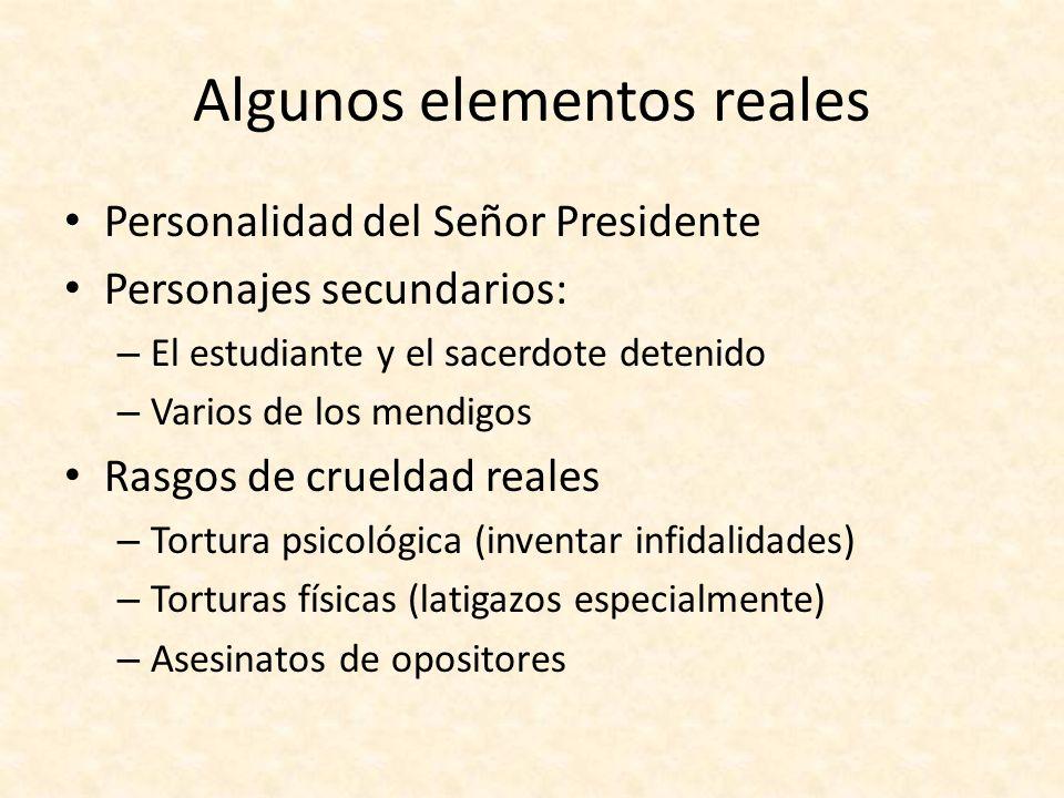 Algunos elementos reales Personalidad del Señor Presidente Personajes secundarios: – El estudiante y el sacerdote detenido – Varios de los mendigos Ra