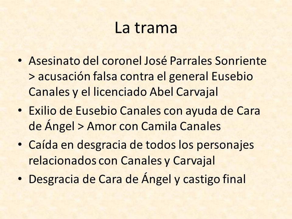 La trama Asesinato del coronel José Parrales Sonriente > acusación falsa contra el general Eusebio Canales y el licenciado Abel Carvajal Exilio de Eus