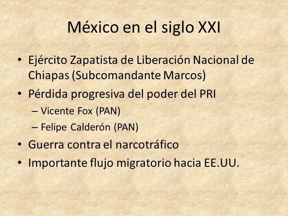 México en el siglo XXI Ejército Zapatista de Liberación Nacional de Chiapas (Subcomandante Marcos) Pérdida progresiva del poder del PRI – Vicente Fox