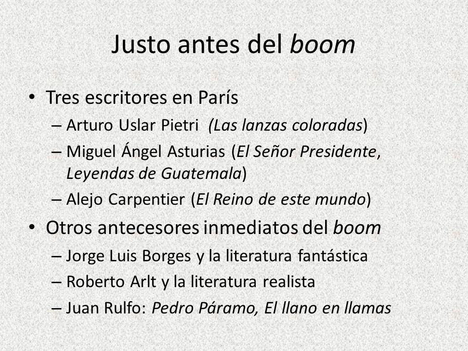 Justo antes del boom Tres escritores en París – Arturo Uslar Pietri (Las lanzas coloradas) – Miguel Ángel Asturias (El Señor Presidente, Leyendas de G