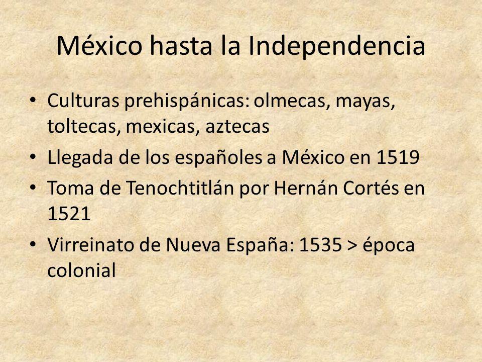 La Independencia de México 1810 – inicio de la revuelta independentista: El grito de Dolores Acta de Independencia de la América Septentrional (1813) Derrotas iniciales de los insurgentes > apoyo de militares criollos Acta de Independencia de México – 27 de septiembre de 1821