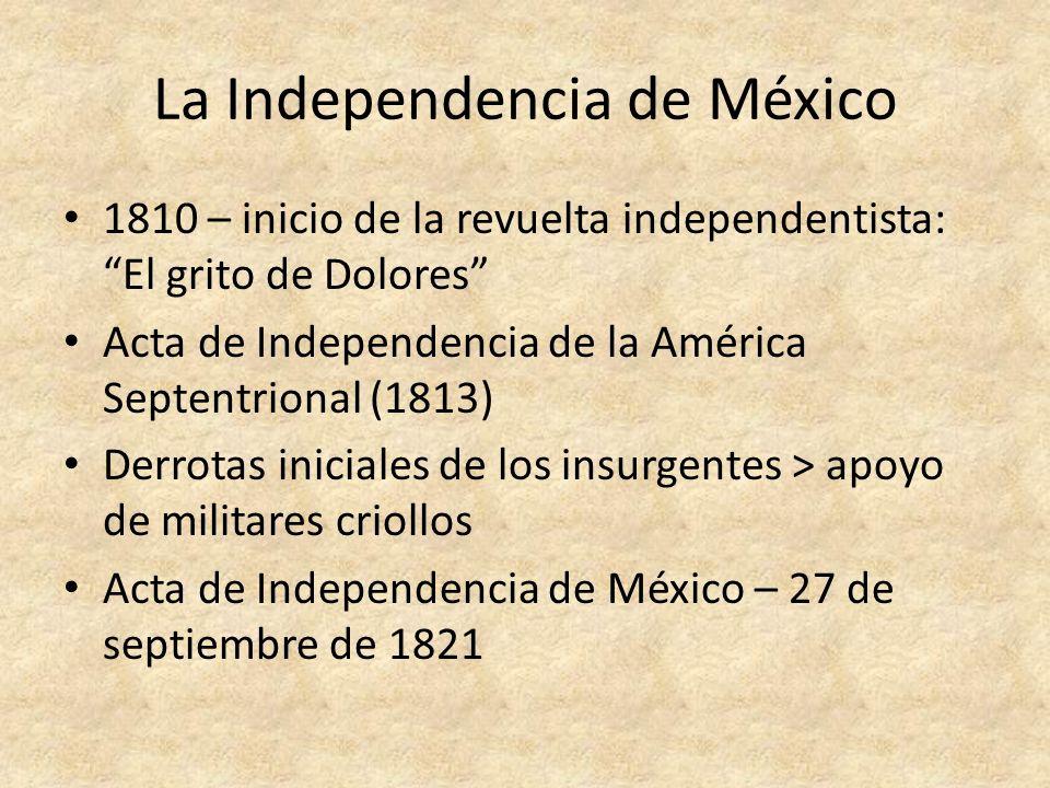 México hasta la Revolución Breve Imperio Mexicano Constitución de 1824 Antonio López de Santa Anna, dictador de México Guerras territoriales con los EE.UU.