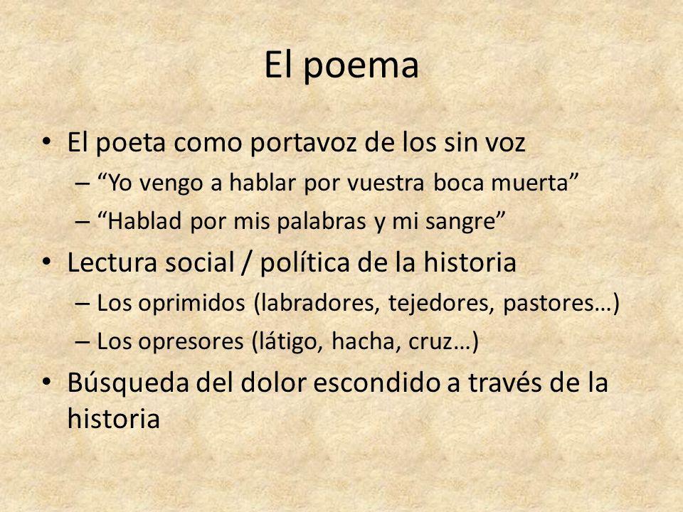 El poema El poeta como portavoz de los sin voz – Yo vengo a hablar por vuestra boca muerta – Hablad por mis palabras y mi sangre Lectura social / polí