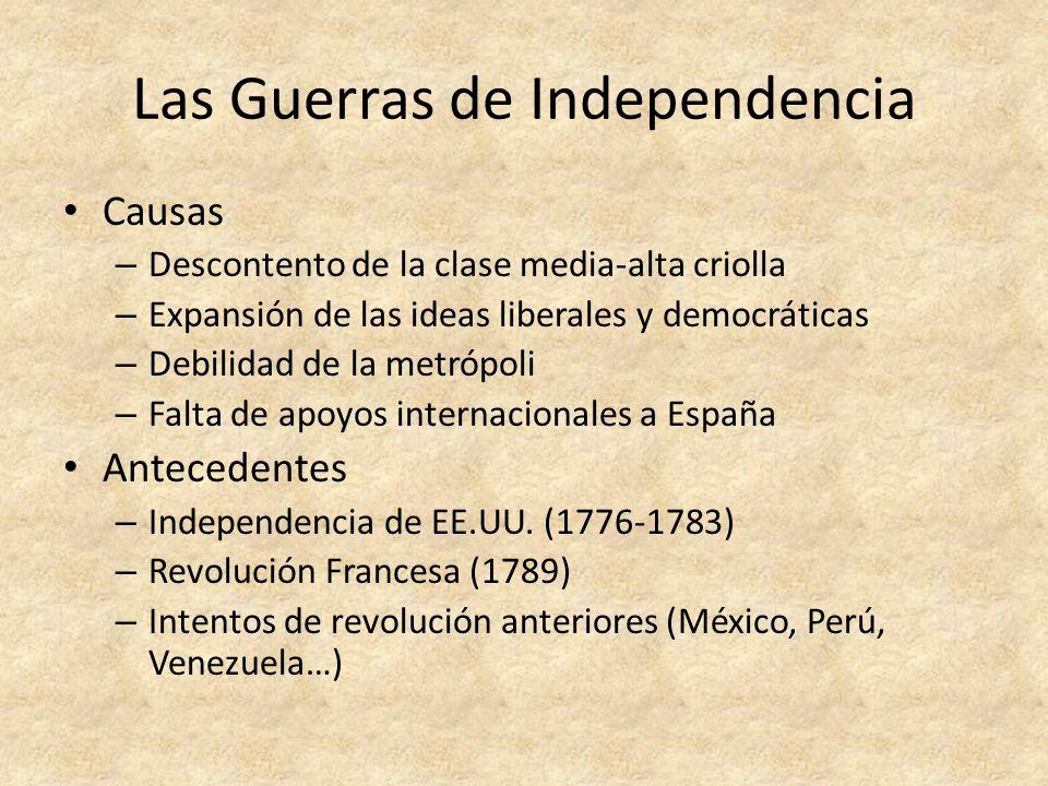 Cronología Inicio en 1808: Juntas de Gobierno Enfrentamientos entre tropas realistas y patriotas – Guerra de Independencia de México (1810-1821) – Guerra de Independencia de Colombia (1810- 1819) y Venezuela (1810-1823) > La Gran Colombia – Guerra de Independencia de Argentina (1810- 1825) y Uruguay (1810- ) > Provincias Unidas del Río de la Plata