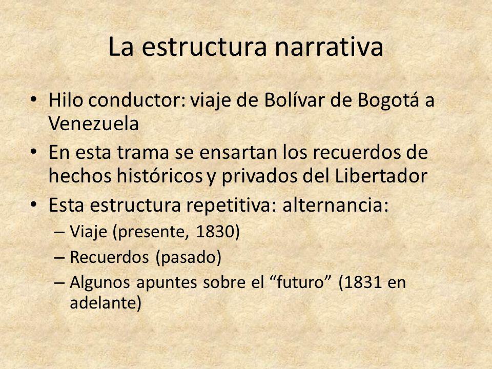 La estructura narrativa Hilo conductor: viaje de Bolívar de Bogotá a Venezuela En esta trama se ensartan los recuerdos de hechos históricos y privados
