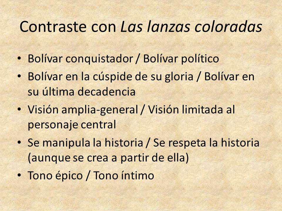 Contraste con Las lanzas coloradas Bolívar conquistador / Bolívar político Bolívar en la cúspide de su gloria / Bolívar en su última decadencia Visión