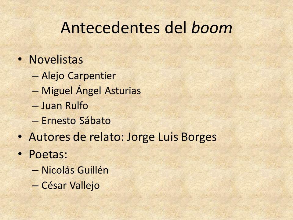 Antecedentes del boom Novelistas – Alejo Carpentier – Miguel Ángel Asturias – Juan Rulfo – Ernesto Sábato Autores de relato: Jorge Luis Borges Poetas: