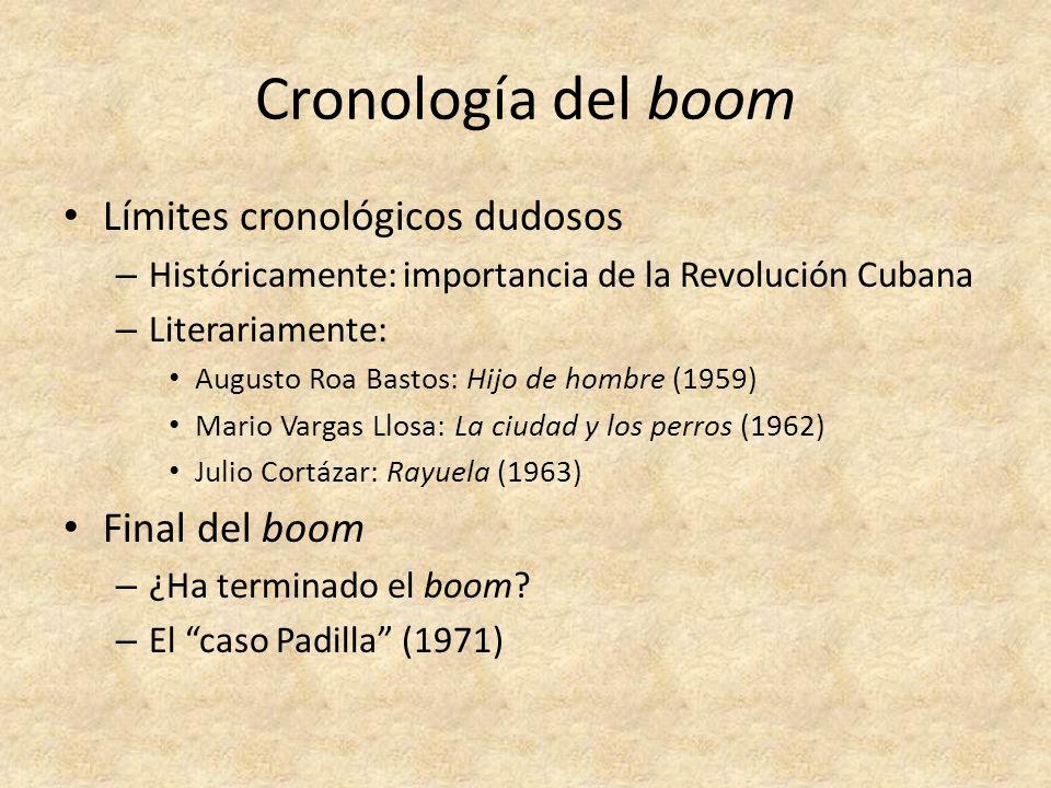 Cronología del boom Límites cronológicos dudosos – Históricamente: importancia de la Revolución Cubana – Literariamente: Augusto Roa Bastos: Hijo de h