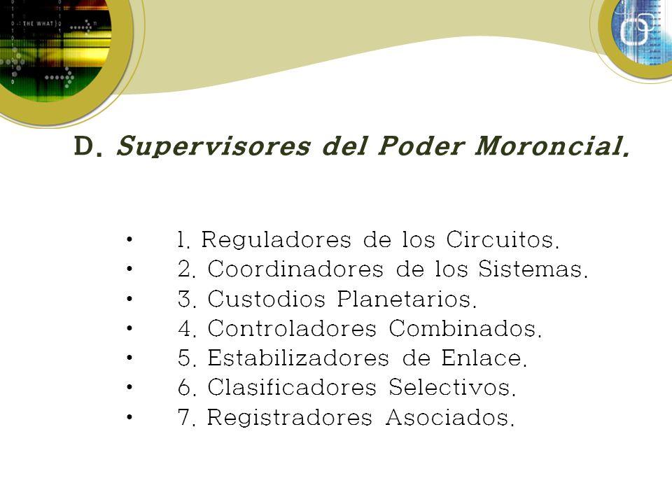 D. Supervisores del Poder Moroncial. 1. Reguladores de los Circuitos. 2. Coordinadores de los Sistemas. 3. Custodios Planetarios. 4. Controladores Com