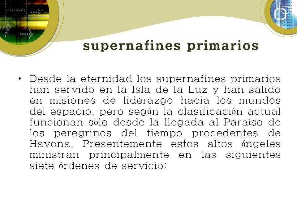 supernafines primarios Desde la eternidad los supernafines primarios han servido en la Isla de la Luz y han salido en misiones de liderazgo hacia los