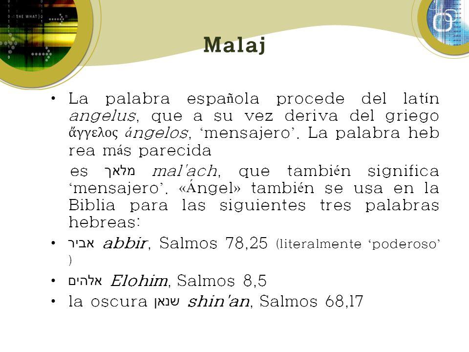 Malaj La palabra espa ñ ola procede del lat í n angelus, que a su vez deriva del griego γγελος á ngelos, mensajero. La palabra heb rea m á s parecida