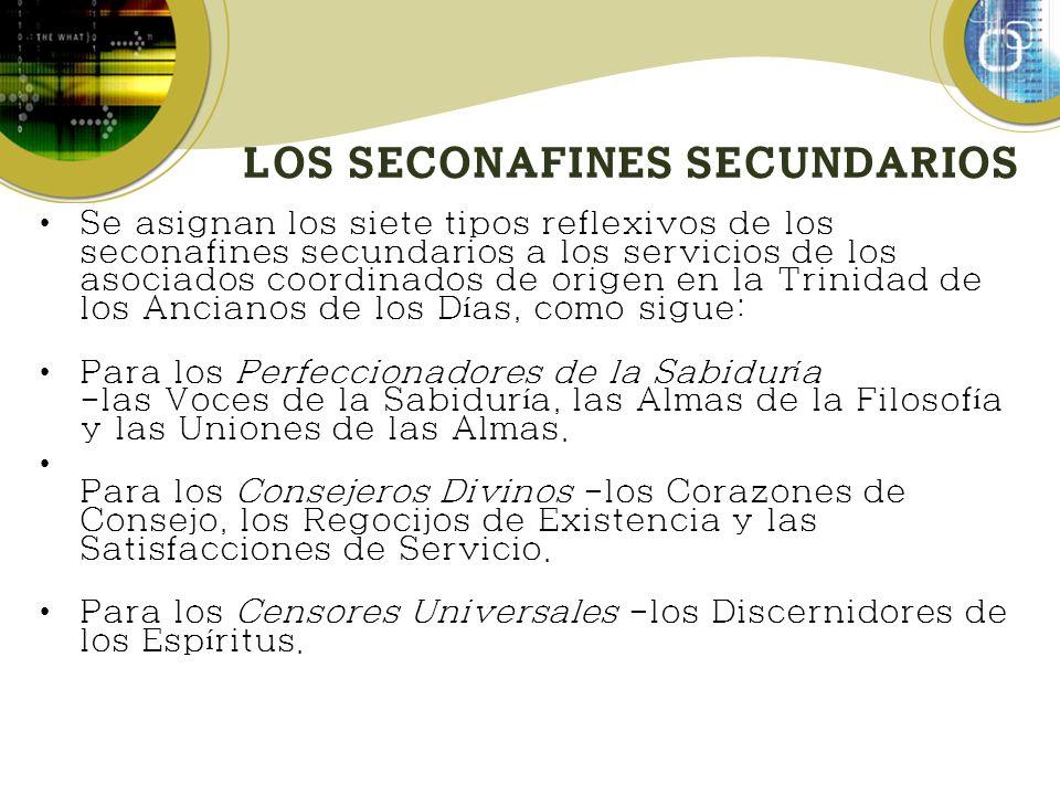 LOS SECONAFINES SECUNDARIOS Se asignan los siete tipos reflexivos de los seconafines secundarios a los servicios de los asociados coordinados de orige