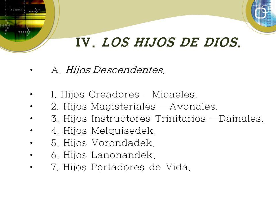 IV. LOS HIJOS DE DIOS. A. Hijos Descendentes. 1. Hijos Creadores Micaeles. 2. Hijos Magisteriales Avonales. 3. Hijos Instructores Trinitarios Dainales