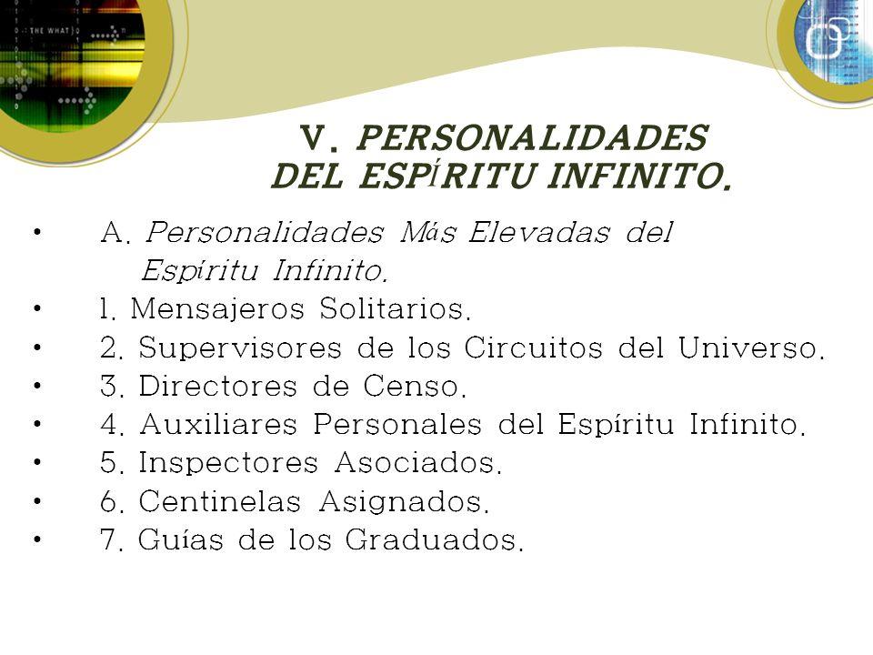 V. PERSONALIDADES DEL ESP Í RITU INFINITO. A. Personalidades M á s Elevadas del Esp í ritu Infinito. 1. Mensajeros Solitarios. 2. Supervisores de los