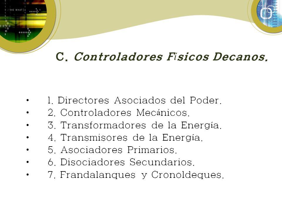 C. Controladores F í sicos Decanos. 1. Directores Asociados del Poder. 2. Controladores Mec á nicos. 3. Transformadores de la Energ í a. 4. Transmisor