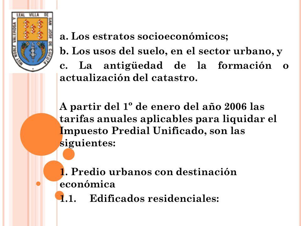 a. Los estratos socioeconómicos; b. Los usos del suelo, en el sector urbano, y c. La antigüedad de la formación o actualización del catastro. A partir