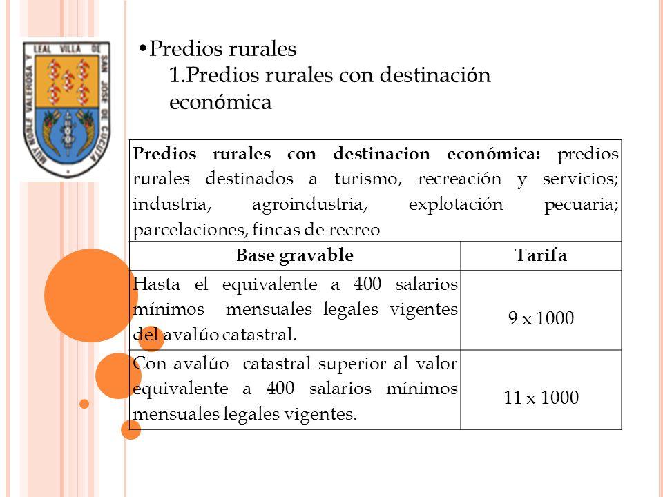 Predios rurales con destinacion económica: predios rurales destinados a turismo, recreación y servicios; industria, agroindustria, explotación pecuari