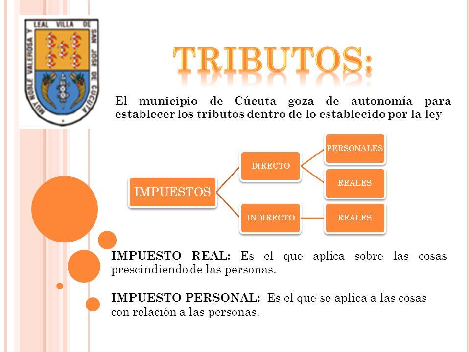 El municipio de Cúcuta goza de autonomía para establecer los tributos dentro de lo establecido por la ley IMPUESTOS DIRECTOPERSONALESREALESINDIRECTORE