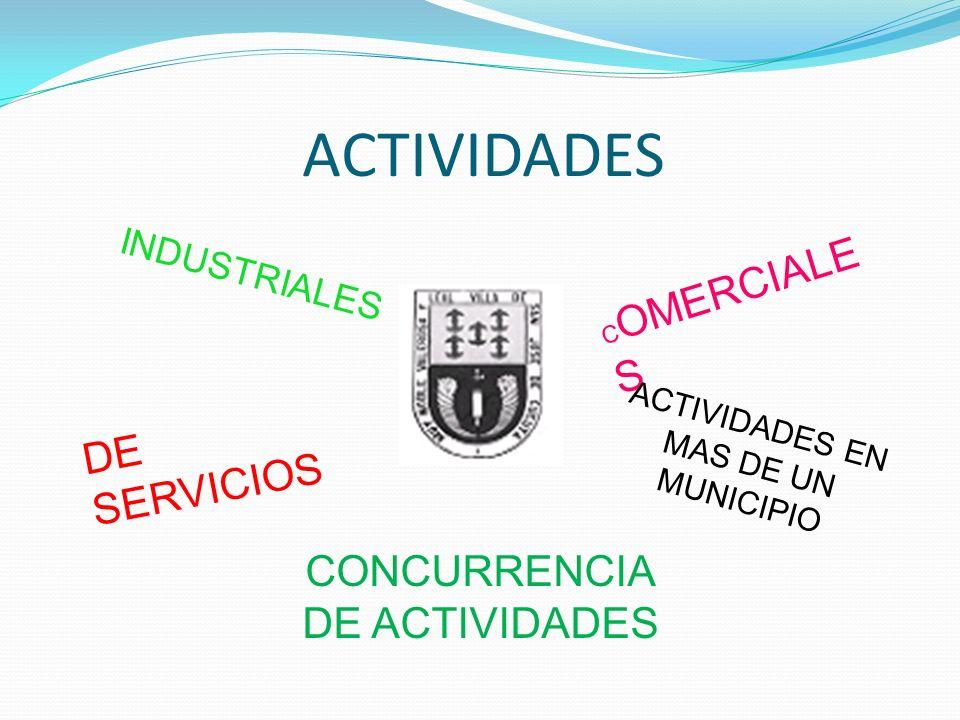 ACTIVIDADES INDUSTRIALES C OMERCIALE S DE SERVICIOS ACTIVIDADES EN MAS DE UN MUNICIPIO CONCURRENCIA DE ACTIVIDADES