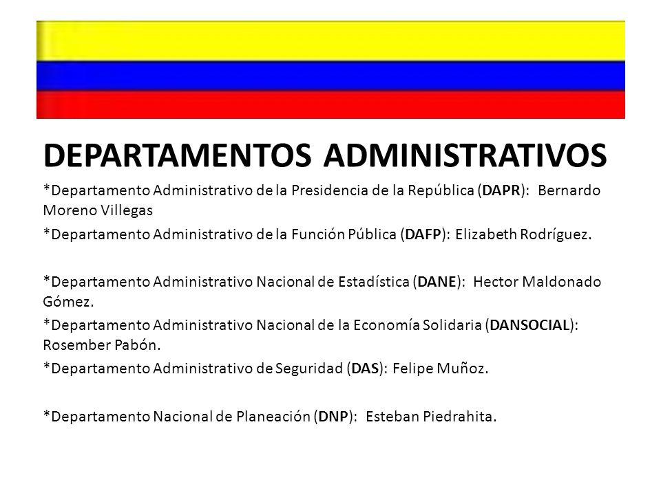 DEPARTAMENTOS ADMINISTRATIVOS *Departamento Administrativo de la Presidencia de la República (DAPR): Bernardo Moreno Villegas *Departamento Administra