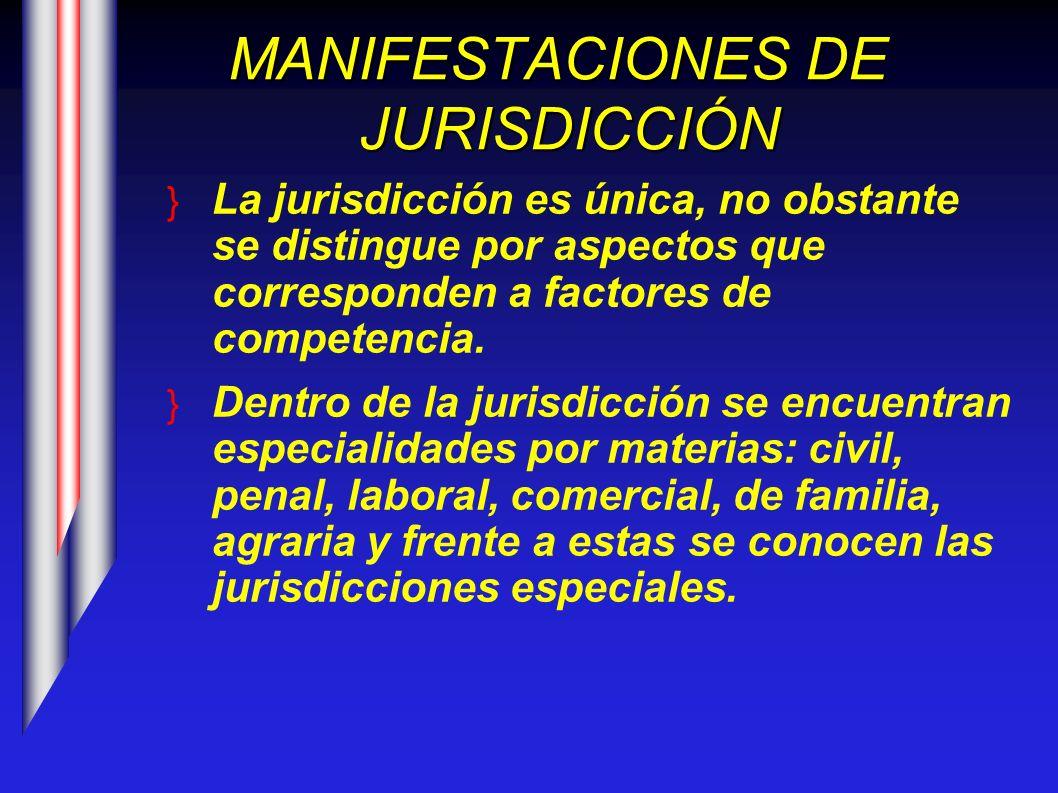 MANIFESTACIONES DE JURISDICCIÓN La jurisdicción es única, no obstante se distingue por aspectos que corresponden a factores de competencia. Dentro de