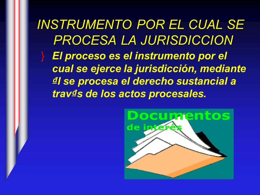 INSTRUMENTO POR EL CUAL SE PROCESA LA JURISDICCION El proceso es el instrumento por el cual se ejerce la jurisdicción, mediante l se procesa el derech
