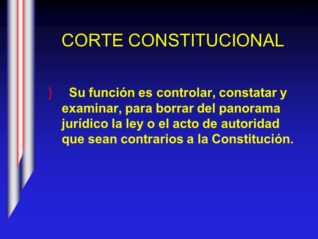 CORTE CONSTITUCIONAL Su función es controlar, constatar y examinar, para borrar del panorama jurídico la ley o el acto de autoridad que sean contrario