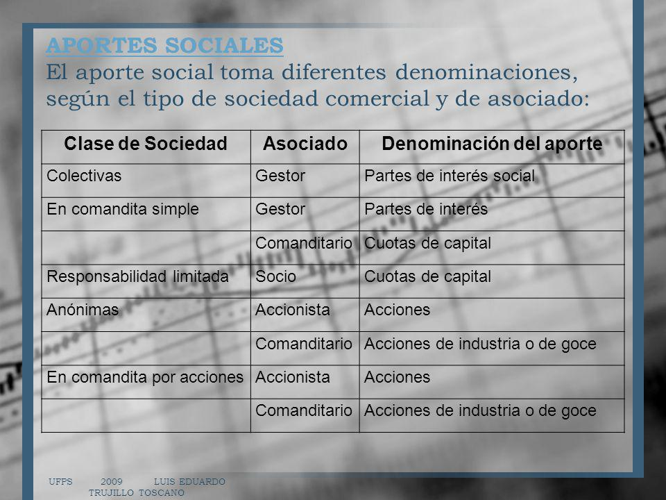 APORTES SOCIALES APORTES SOCIALES El aporte social toma diferentes denominaciones, según el tipo de sociedad comercial y de asociado: UFPS 2009 LUIS E
