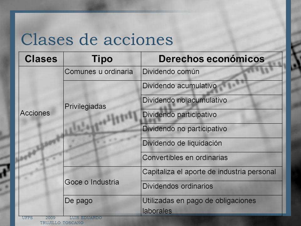 Clases de acciones UFPS 2009 LUIS EDUARDO TRUJILLO TOSCANO ClasesTipoDerechos económicos Acciones Comunes u ordinariaDividendo común Privilegiadas Div