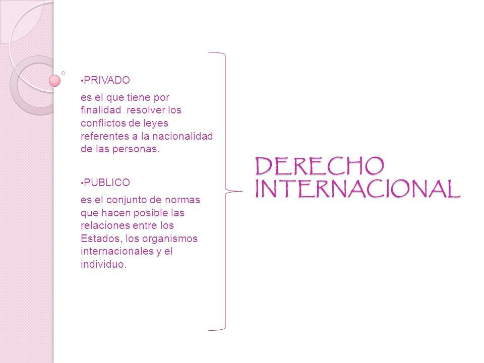 DERECHO INTERNACIONAL PRIVADO es el que tiene por finalidad resolver los conflictos de leyes referentes a la nacionalidad de las personas.
