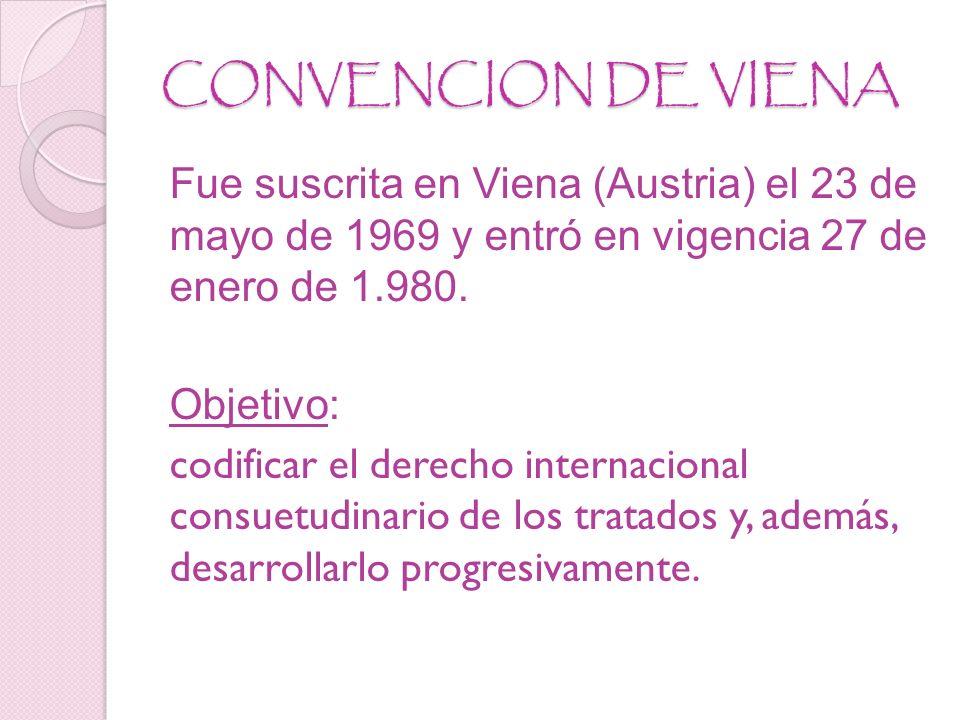 CONVENCION DE VIENA Fue suscrita en Viena (Austria) el 23 de mayo de 1969 y entró en vigencia 27 de enero de 1.980.