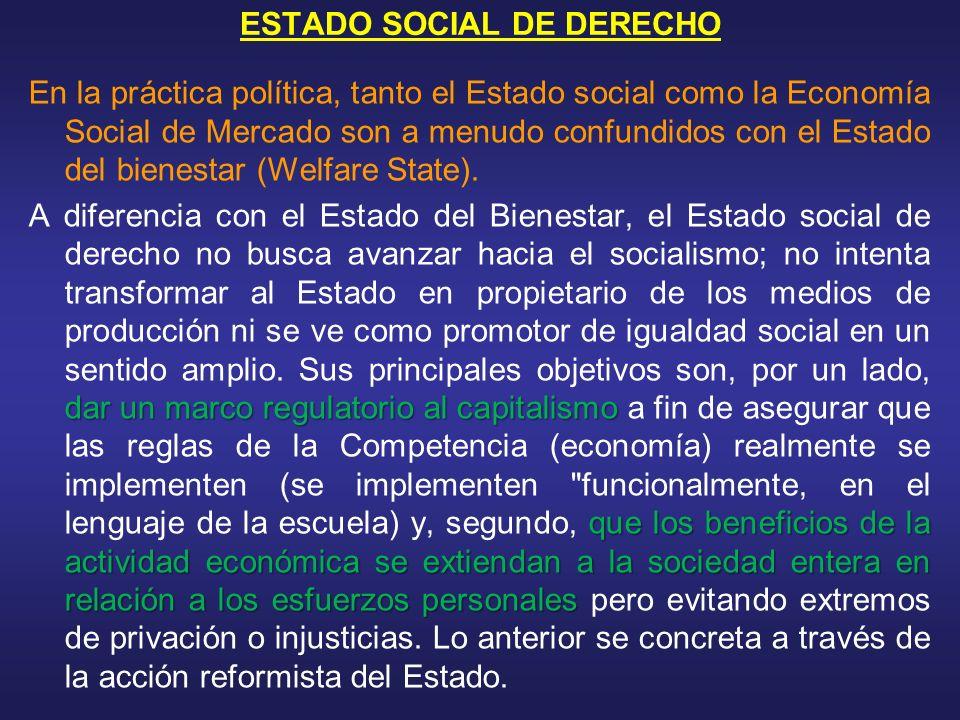 ESTADO SOCIAL DE DERECHO En la práctica política, tanto el Estado social como la Economía Social de Mercado son a menudo confundidos con el Estado del