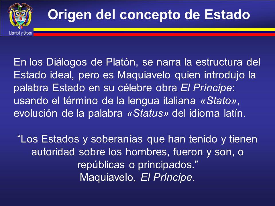 Origen del concepto de Estado En los Diálogos de Platón, se narra la estructura del Estado ideal, pero es Maquiavelo quien introdujo la palabra Estado