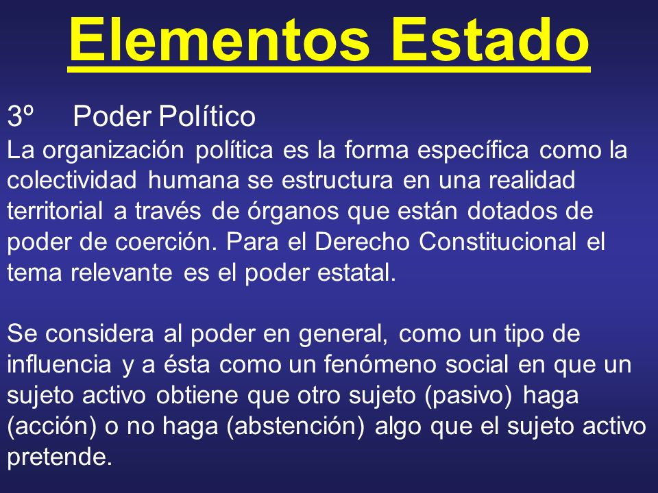 Elementos Estado 3ºPoder Político La organización política es la forma específica como la colectividad humana se estructura en una realidad territoria