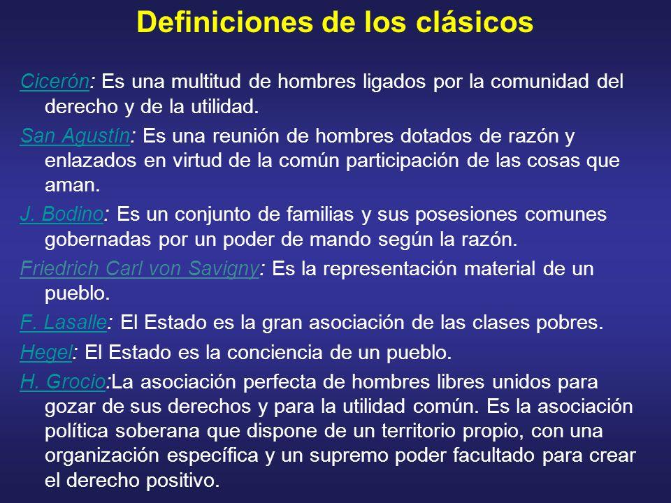 Definiciones de los clásicos CicerónCicerón: Es una multitud de hombres ligados por la comunidad del derecho y de la utilidad. San AgustínSan Agustín:
