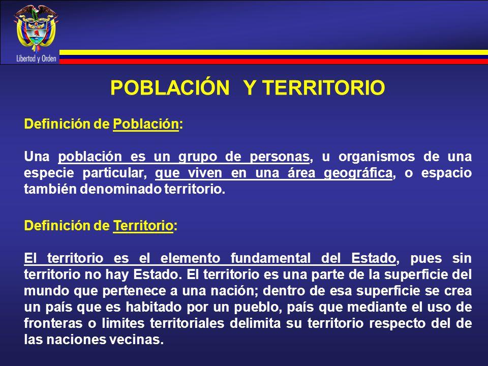 POBLACIÓN Y TERRITORIO Definición de Población: Una población es un grupo de personas, u organismos de una especie particular, que viven en una área g