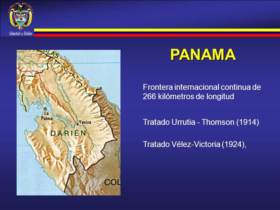 PANAMA Tratado Vélez-Victoria (1924), Frontera internacional continua de 266 kilómetros de longitud Tratado Urrutia - Thomson (1914)