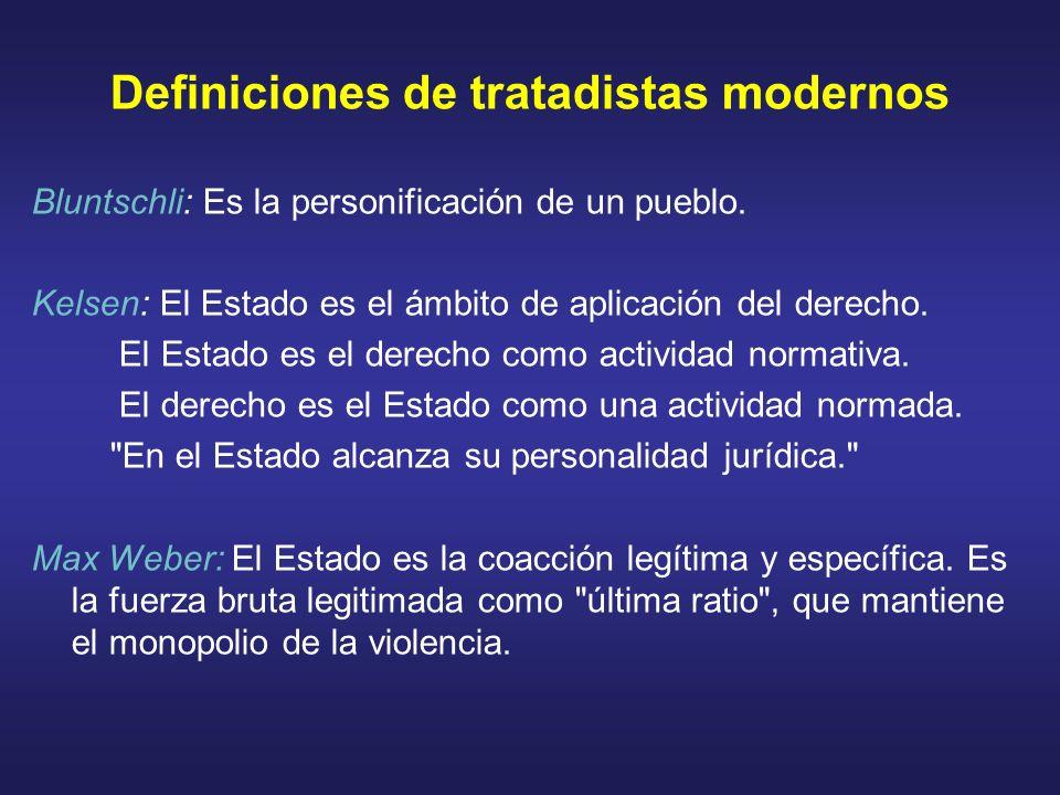 Definiciones de tratadistas modernos Bluntschli: Es la personificación de un pueblo. Kelsen: El Estado es el ámbito de aplicación del derecho. El Esta