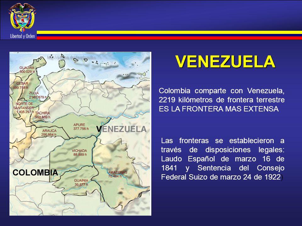 VENEZUELA Las fronteras se establecieron a través de disposiciones legales: Laudo Español de marzo 16 de 1841 y Sentencia del Consejo Federal Suizo de